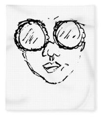 Woman In Sunglasses Fleece Blanket