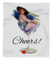 Woman In Wine Glass Fleece Blanket