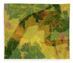 Woman On Autumn Leaves Fleece Blanket
