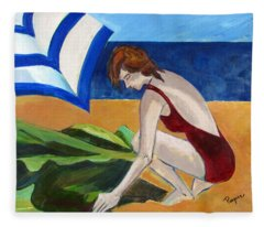 Woman On The Beach Fleece Blanket