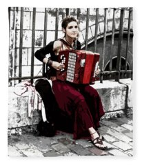 Woman Playing Accordion Fleece Blanket