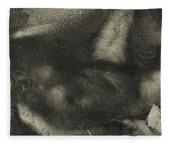 Woman Reclining On Her Bed Fleece Blanket