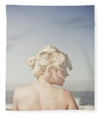 Woman Relaxing On The Beach Fleece Blanket
