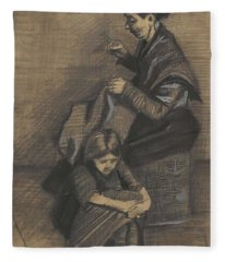 Woman Sewing, With A Girl The Hague, March 1883 Vincent Van Gogh 1853 - 1890 Fleece Blanket