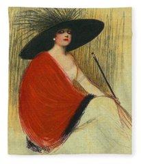 Woman Wearing Hat Fleece Blanket