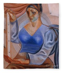 Woman With A Painting Fleece Blanket
