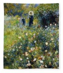 Woman With A Parasol After Renoir Fleece Blanket