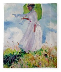 Woman With A Parasol Fleece Blanket