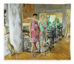 Women In Sunroom Fleece Blanket