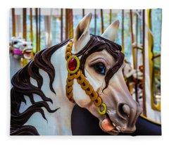 Wonderful Carrousel Horse Portrait  Fleece Blanket