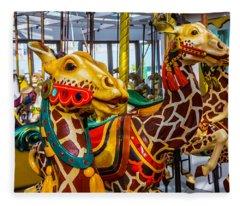 Wonderful Giraffe Ride Fleece Blanket