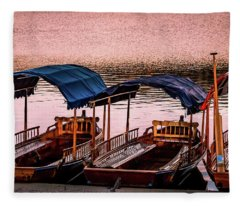 Wood Boats Bled Fleece Blanket
