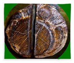 Wood Carved Fossil Fleece Blanket
