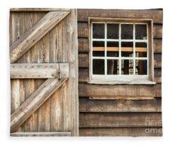 Wood Door And Window Fleece Blanket