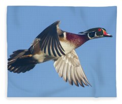 Wood Duck Flying Fast Fleece Blanket