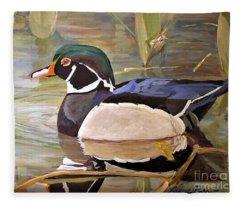 Wood Duck On Pond Fleece Blanket