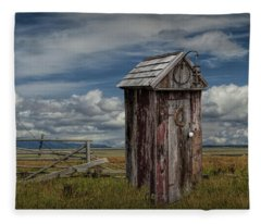 Wood Outhouse Out West Fleece Blanket