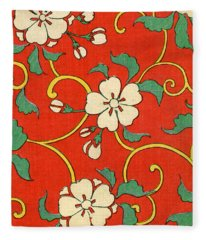 Woodblock Print Of Apple Blossoms Fleece Blanket