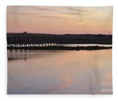 Wooden Bridge And Twilight Fleece Blanket
