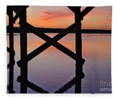 Wooden Bridge Silhouette At Dusk Fleece Blanket