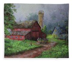 Wooden Cart Fleece Blanket