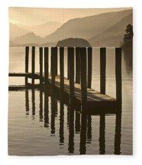 Wooden Dock In The Lake At Sunset Fleece Blanket