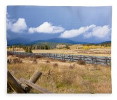 Wooden Fence And Storm Fleece Blanket