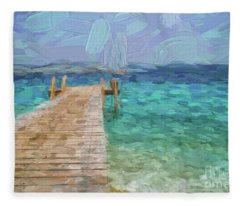 Wooden Jetty And Boat Fleece Blanket