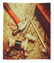 Wooden Model Toy Reindeer. Christmas Craft Fleece Blanket