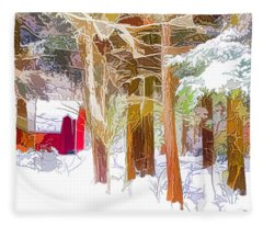 Wooden Shed In Winter Fleece Blanket