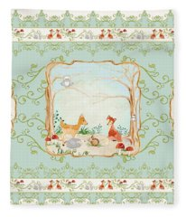 Woodland Fairy Tale - Aqua Blue Forest Gathering Of Woodland Animals Fleece Blanket
