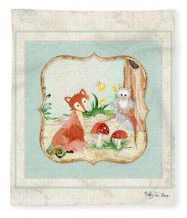 Woodland Fairy Tale - Fox Owl Mushroom Forest Fleece Blanket