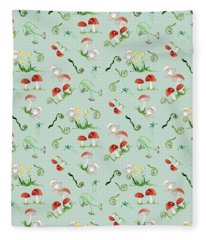 Woodland Fairy Tale - Red Mushrooms N Owls Fleece Blanket