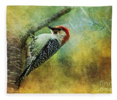 Woodpecker On Cherry Tree Fleece Blanket