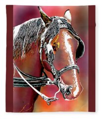 Workhorse Portrait Painting I Fleece Blanket