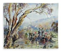 Working Clydesdale Pair, Australian Landscape. Fleece Blanket