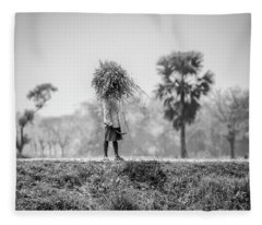 Working In The Lower Ganges Fleece Blanket