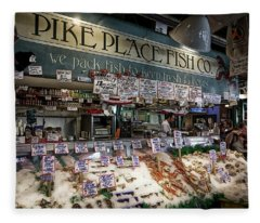 World Famous Pike Place Fish Company - Seattle Fleece Blanket