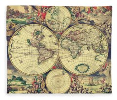 World Map 1689 Fleece Blanket