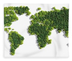 World Map Made Of Green Trees Fleece Blanket