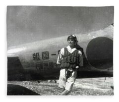 World War II,japanese Pilot Poses By Zero Fighter In The South Pacific Fleece Blanket
