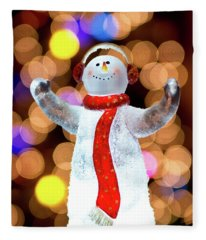 Worshiping Snowman Fleece Blanket