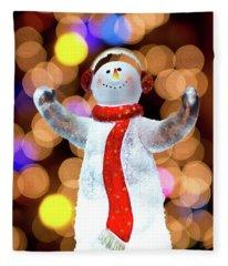Worshiping Snowman Fleece Blanket