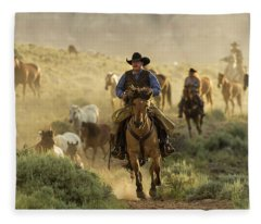 Wrangling The Horses At Sunrise  Fleece Blanket
