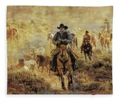A Dusty Wyoming Wrangle Fleece Blanket