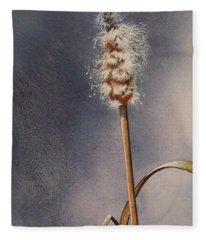 Wren And Cattails Fleece Blanket