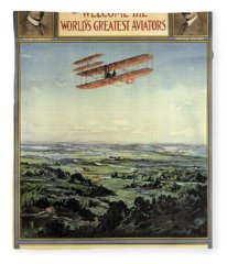 Wright Brothers - World's Greatest Aviators - Dayton, Ohio - Retro Travel Poster - Vintage Poster Fleece Blanket