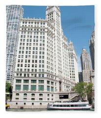 Wrigley Building Overlooking The Chicago River Fleece Blanket