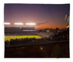 Wrigley Field At Dusk Fleece Blanket