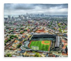 Wrigley Field Chicago Skyline Fleece Blanket